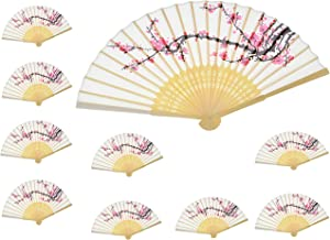 Aloddy 10 PCS Delicate Cherry Blossom Design Silk Folding Hand Fan Wedding Favors Gifts,Fan Girls, Ladies, Church Wedding Gift, Party Favors, DIY Decoration