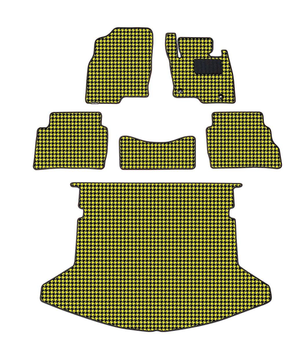 Hotfield マツダ CX-5 フロアマット+トランクマット 千鳥イエロー KF系 (2017年2月~)/フットレスト一体形状 B00TQPZPG4 KF系 (2017年2月~)/フットレスト一体形状|千鳥イエロー 千鳥イエロー KF系 (2017年2月~)/フットレスト一体形状