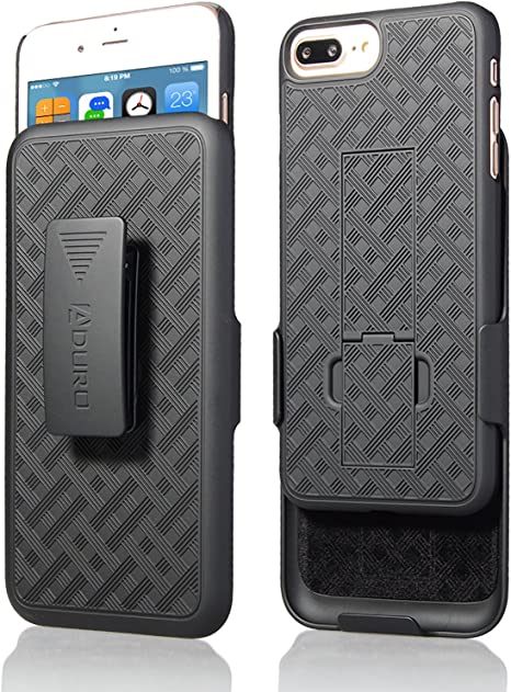 Amazon Com Aduro Holster Case For Iphone 8 Plus Iphone 7 Plus 5 5 Combo Shell Holster Slim Shell Case With Built In Kickstand Swivel Belt Clip Holster For Apple Iphone 8 Plus And