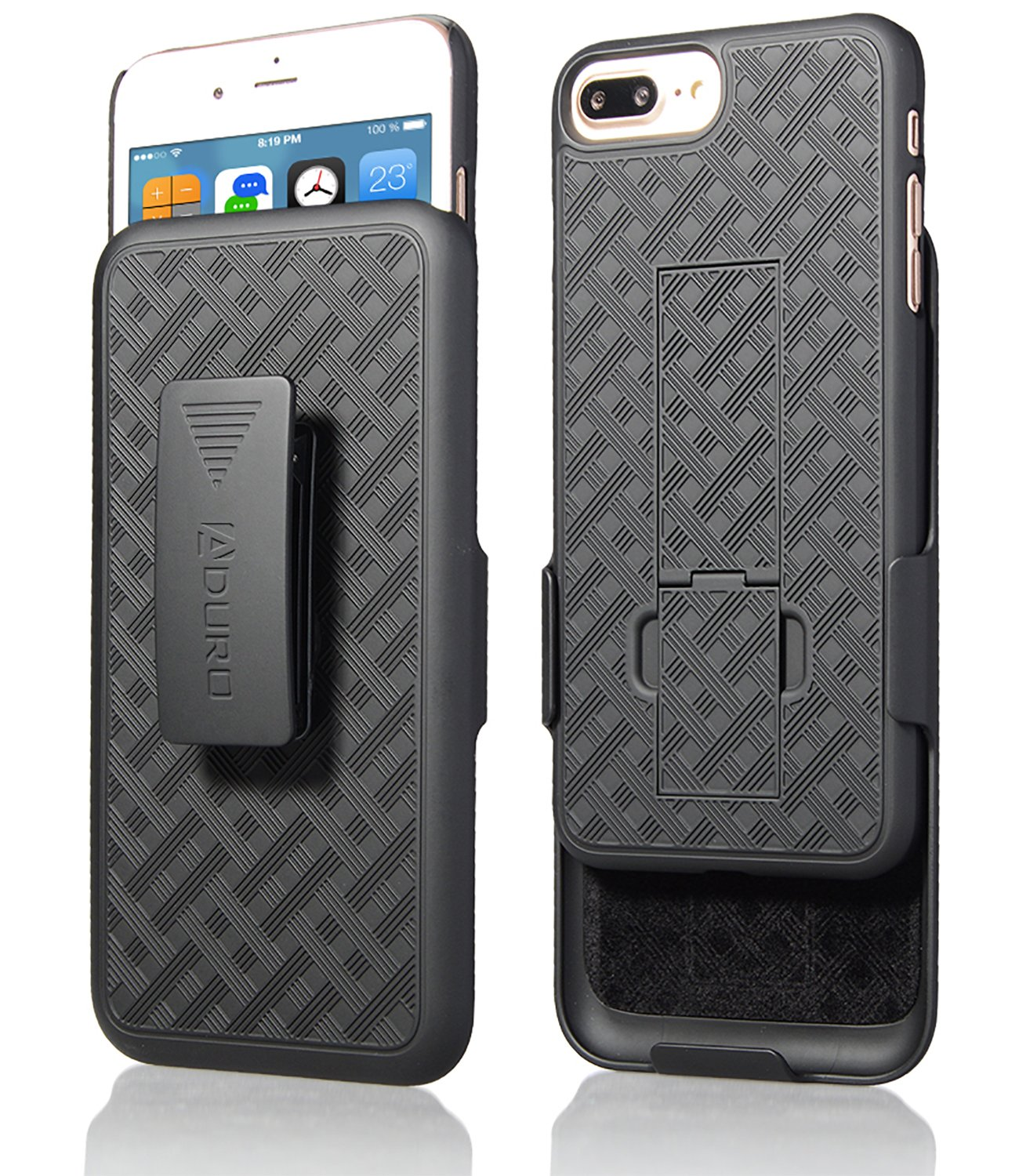 Aduro Holster Case for iPhone 8 Plus/iPhone 7 Plus (5.5'') Combo Shell & Holster Slim Shell Case with Built-in Kickstand + Swivel Belt Clip Holster for Apple iPhone 8 Plus and iPhone 7 Plus ONLY