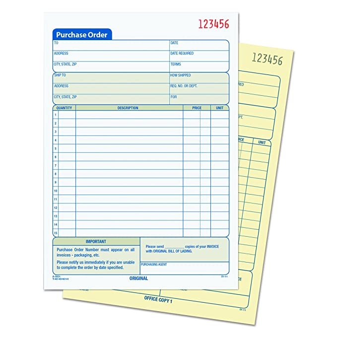 Amazon.com : TOPS Purchase Order Book, Carbonless Duplicate, 5 9/16 X  7 5/16 Inches, 50 Sets Per Book (46140) : Blank Purchase Order Forms :  Office Products