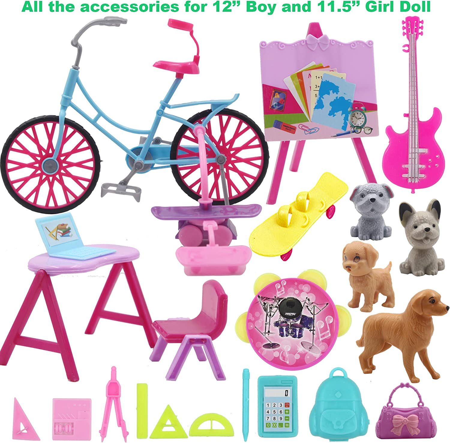 EuTengHao 12 Inch Boy and Girl Dolls Clothes and Campus Accessories Set with 26 Clothes Shirt Dresses Graduation Gown Outfits Shoes fit for 11.5 Girl Boy Dolls Bicycle Guitar Animal School Supplies