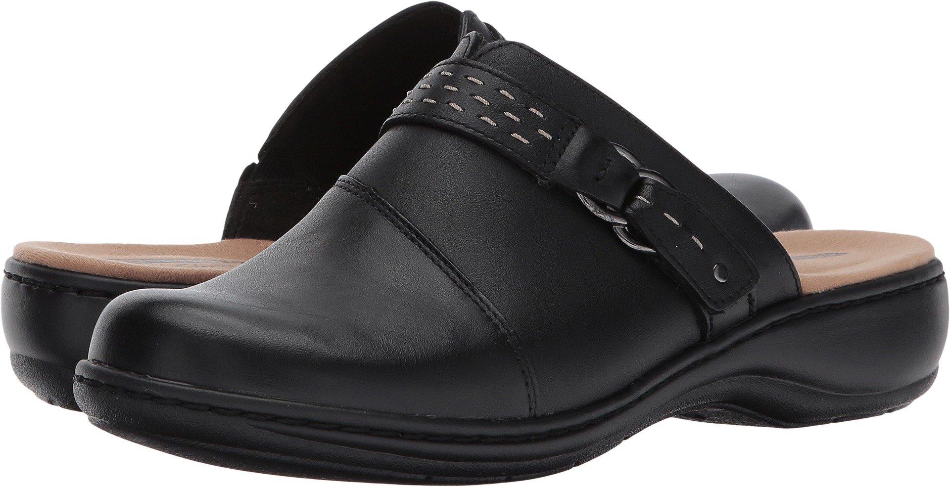 CLARKS Women's Leisa Sadie Mule, Black Leather, 9 M US