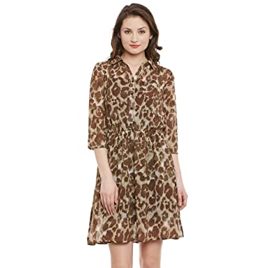 The Gud Look Women s Animal Print Shirt Dress  Amazon.in  Clothing ... 42355b476