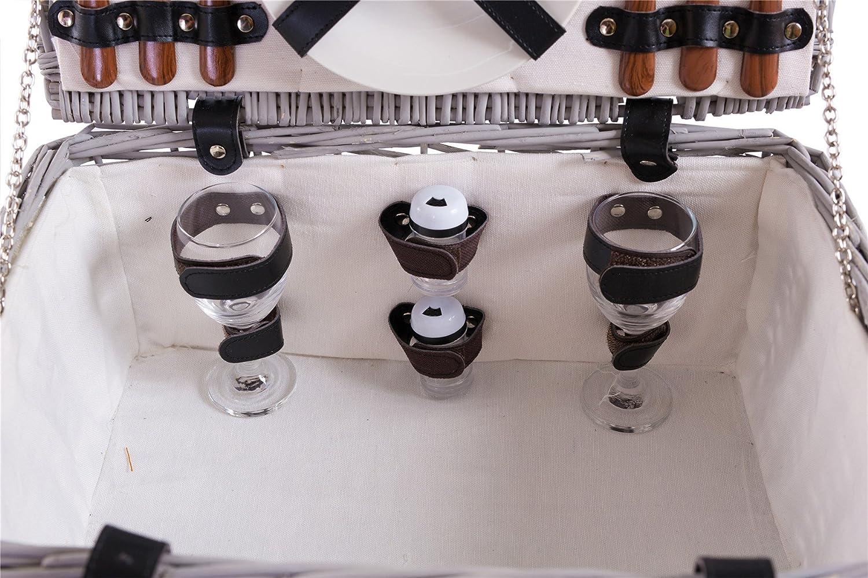 eGenuss Cesta de Mimbre para Picnic-2 Personas-Cuchillo Multifuncional Copas de Vino Nevera Cubiertos en Acero Inoxidable y Platos en cer/ámica inclu/ídos.-Color tart/án Rojo de 32 x 25 x 17 cms.