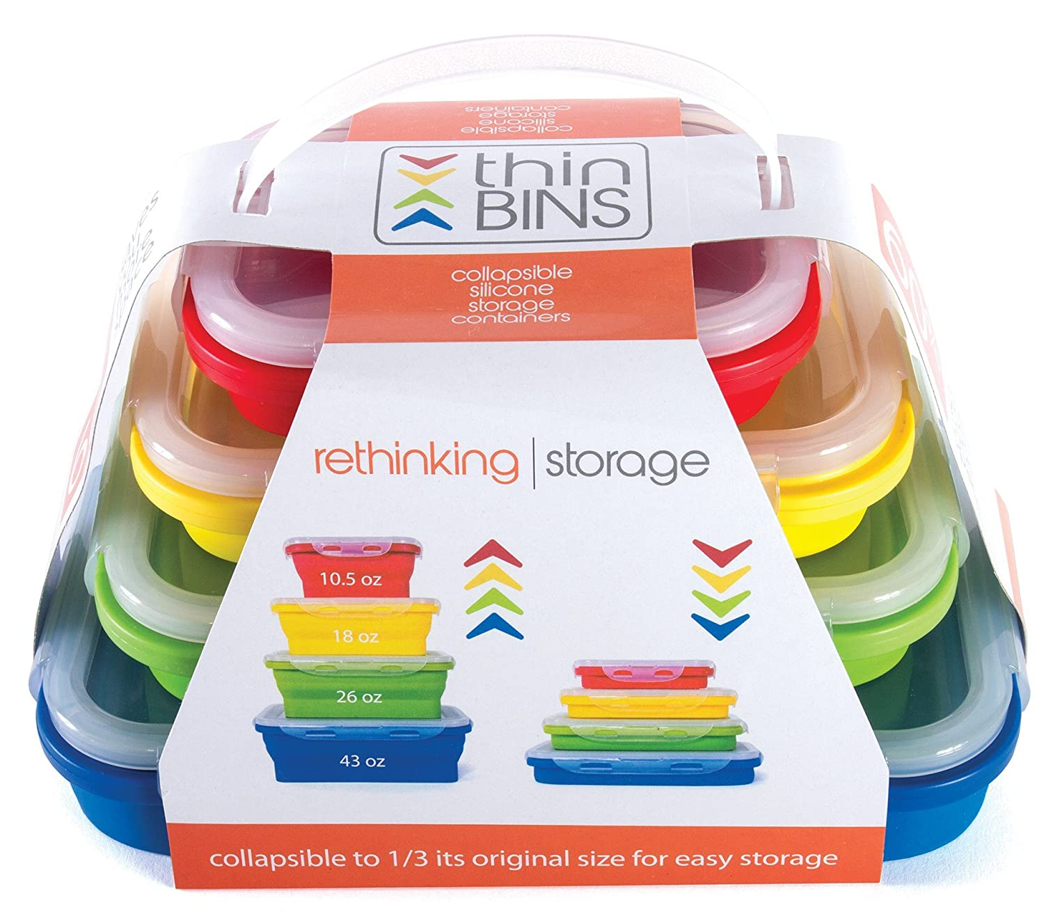 Amazon.com: Thin Bins Collapsible Containers - Set of 4 Square ...