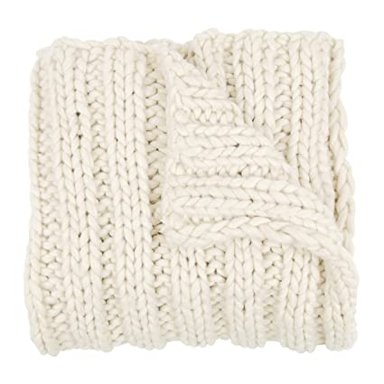 ab566a5e92e Kate and Laurel Chunky Knit Throw Blanket, Natural White