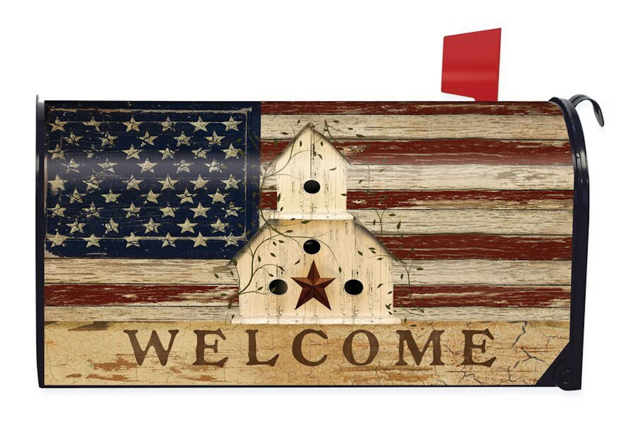 Briarwood Lane Americana Welcome Primitive Mailbox Cover Patriotic Birdhouse