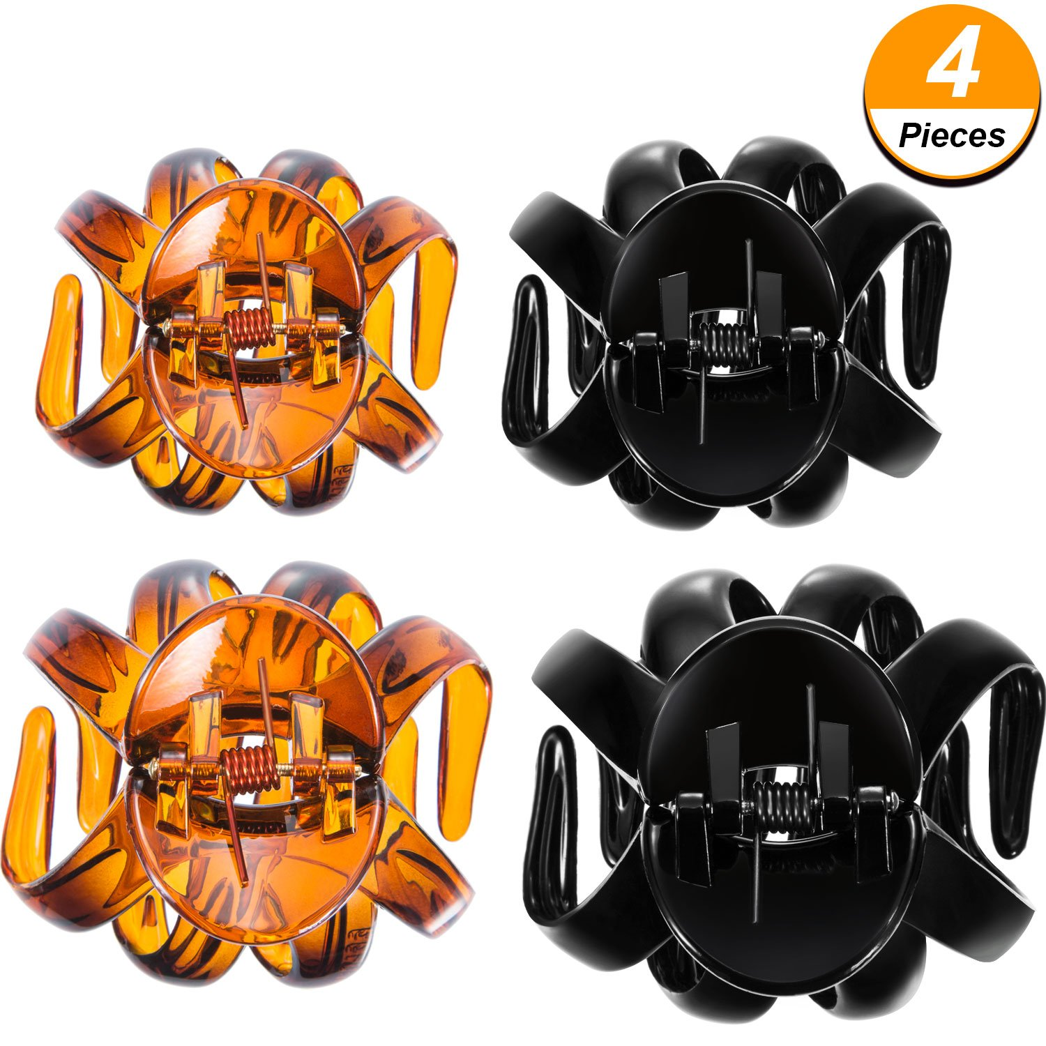 4 Pieces Large Grip Octopus Clip Spider Hair Claw Octopus Jaw Hair Claw Clips for Thick Hair (8.5 cm, Black) Bememo