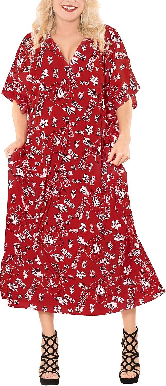 LA LEELA Womens Maxi Caftan Evening Gowns Casual Dress Cover Ups Drawstring