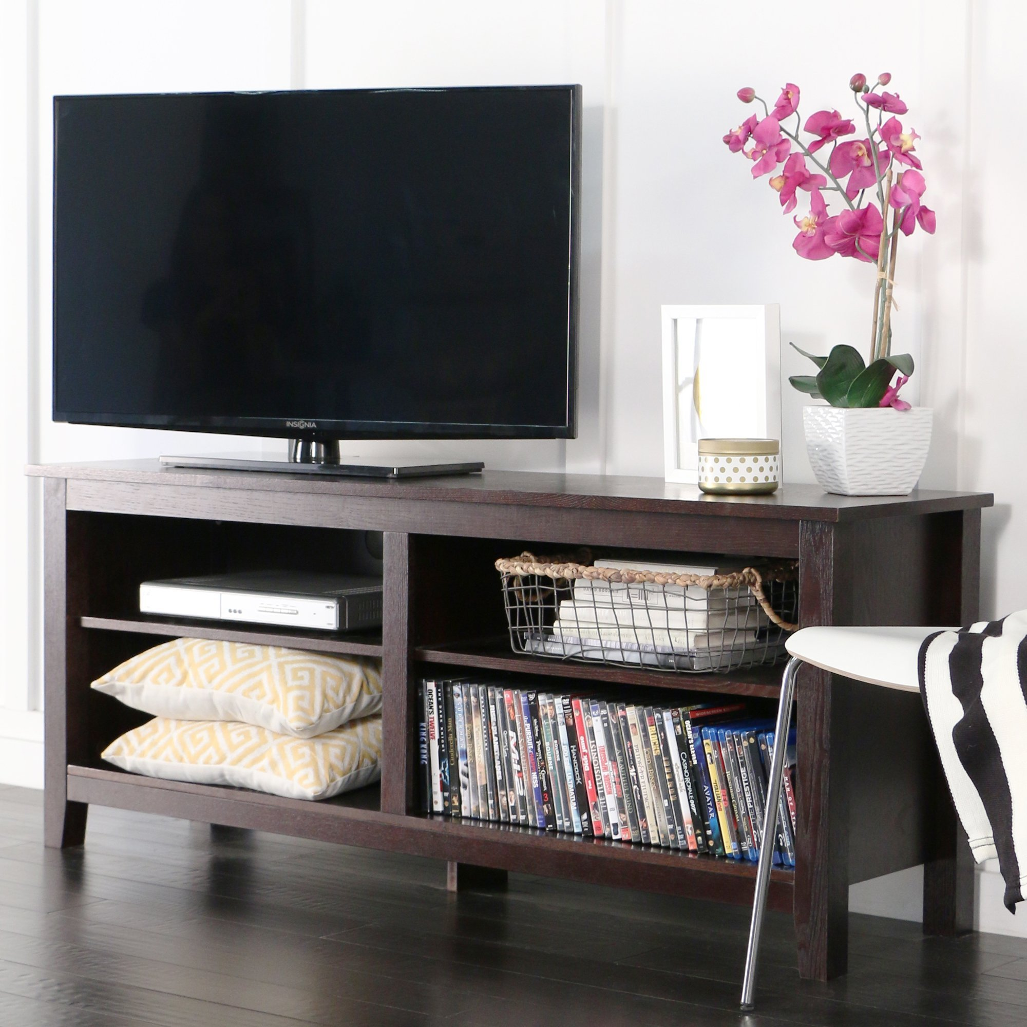 New 58 Inch Wide Dark Brown Tv Stand with Adjustable Shelves