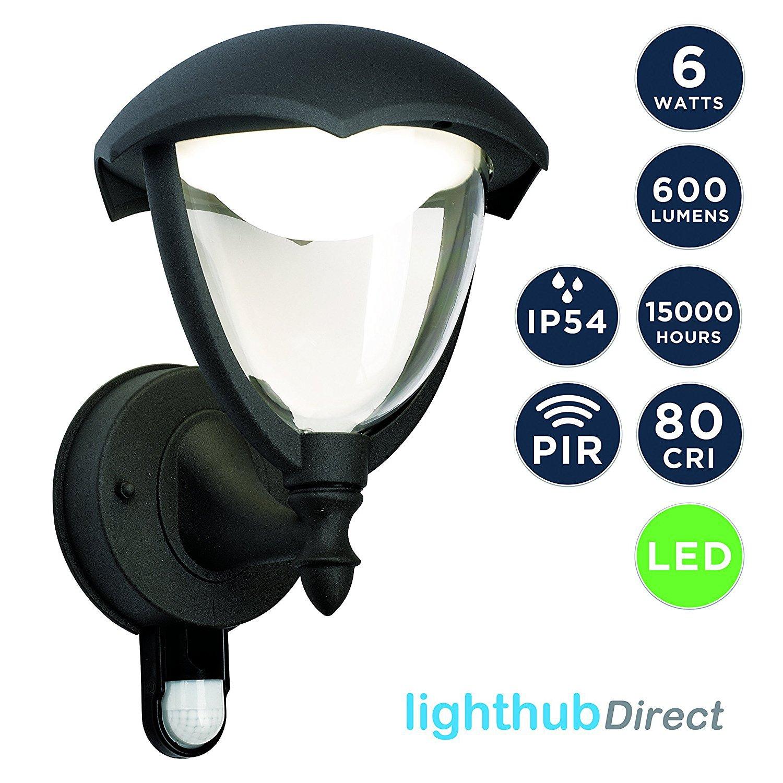 LightHub 6W LED IP44 Farolas Aplique ascendente con sensor de movimiento, iluminación exterior, Farol de pared para exteriores, aluminio, luz blanca cálida, ...