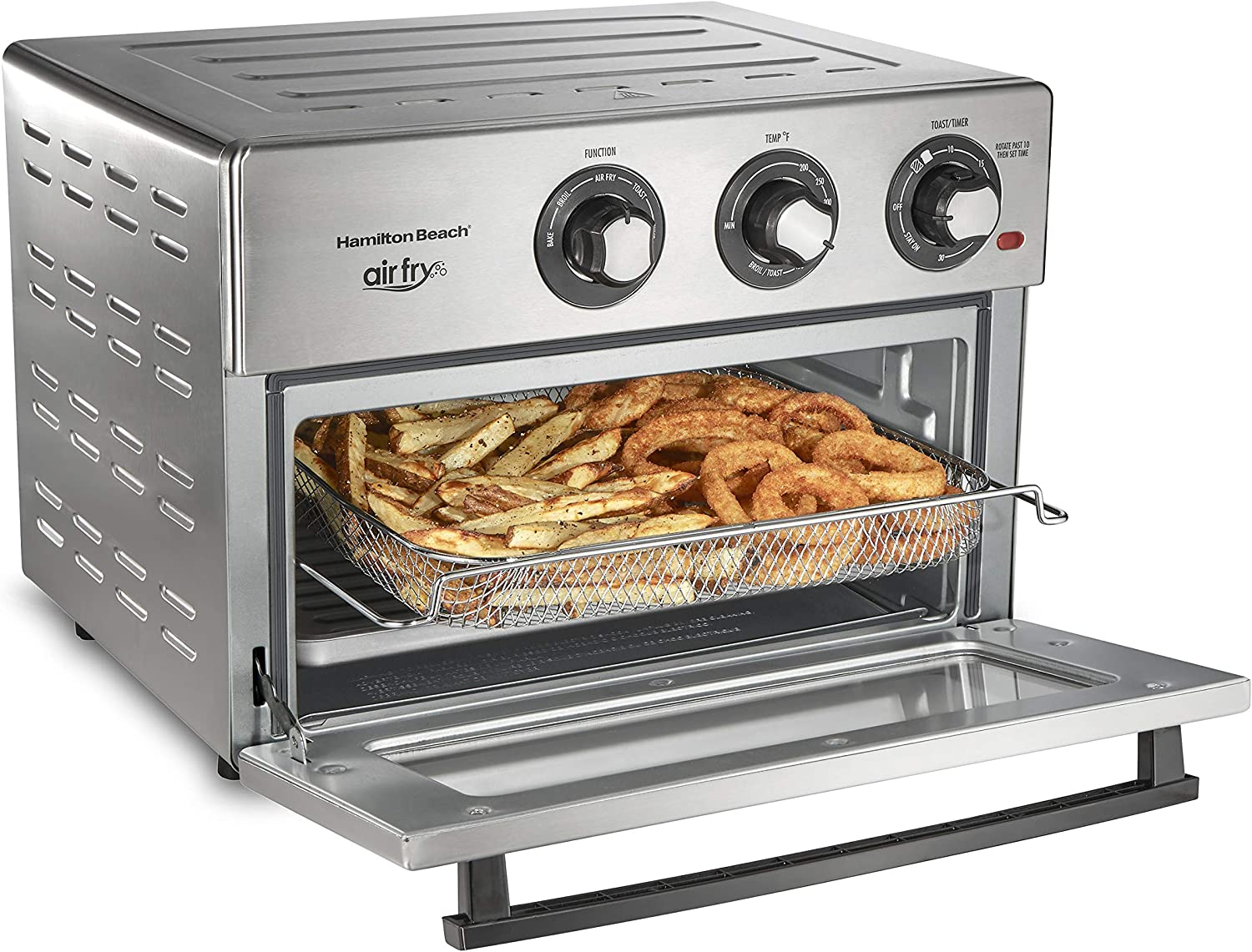 Hamilton Beach Air Fryer Convection Countertop Toaster Oven with Frying Basket, Bake Pan and Broil Rack, 1800 Watts, Stainless Steel (31225)