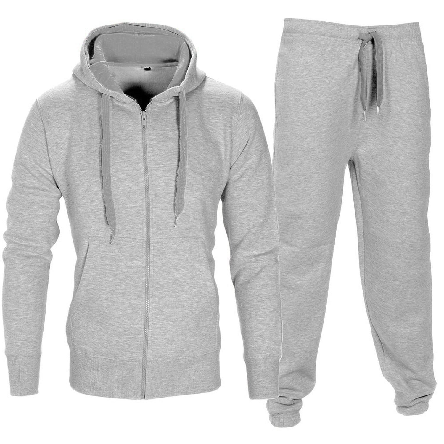 Men Tracksuit Set Contrast Cord Fleece Hoodie Bottom Jogger Gym Sport Suit Pants,Grey,XXX-Large