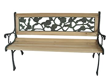 Westwood 3 Seater Wooden Slat Garden Bench Seat Rose Style Cast Iron