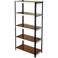 GIRAFFE Boltless Rack with 5-Shelf Shelving Unit (Brown, 150 kg, 36x72x16inch)