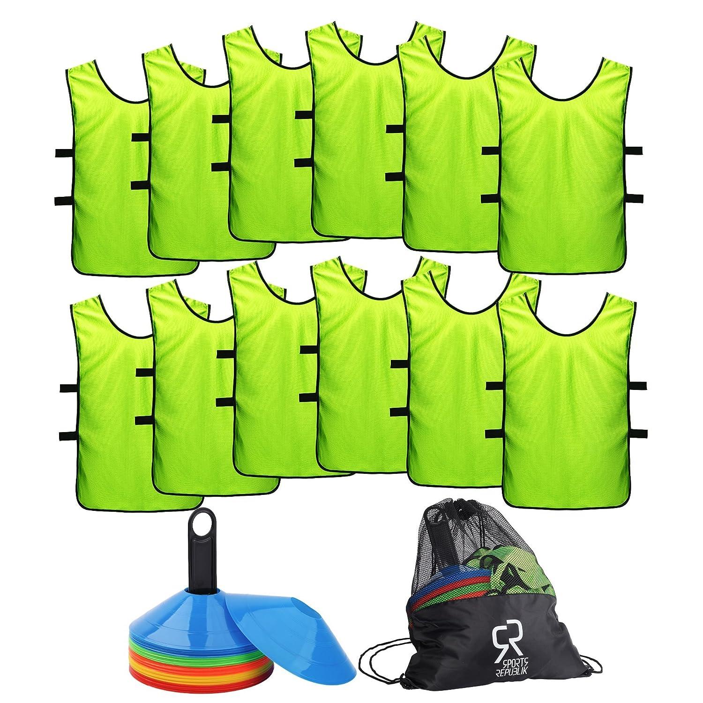 SportsRepublik サッカーコーン(50本セット)とジャージ素材のスポーツビブス(12枚パック)。バスケットボールのドリル練習に最適なディスクコーン B075ZR6WDL。サッカートレーニング備品を補完するにもぴったりです M。敏捷さを鍛えるサッカー練習用備品として。 B075ZR6WDL M ネオンイエロー M (6-11歳) M (6-11歳)|ネオンイエロー, インテリア家具雑貨のUNIROYAL:dcd963a1 --- ijpba.info