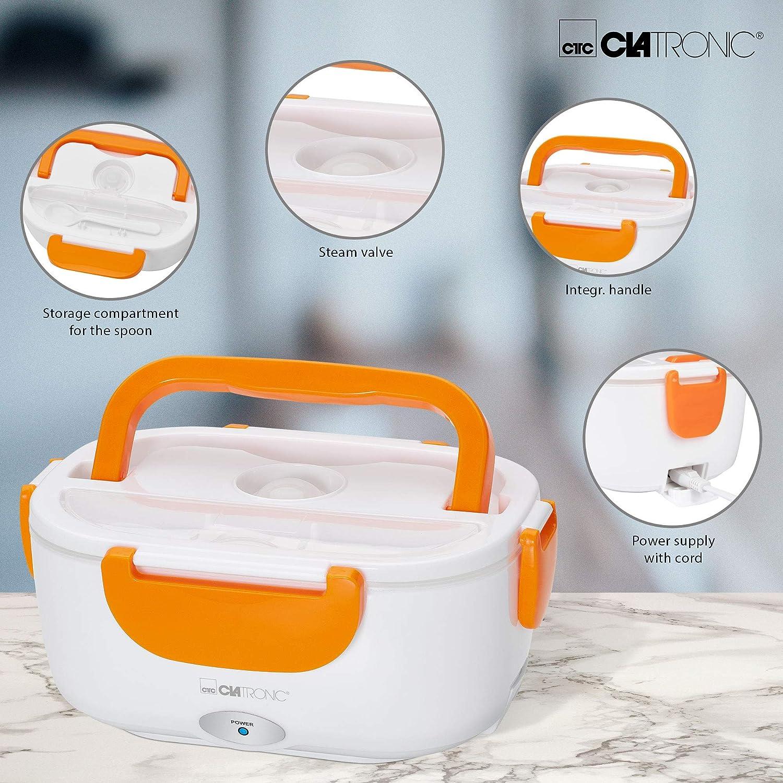 Lunch box elettrico bianco//arancione volume ca riscaldamento di cibi fino a 75/°C 1,7 l Clatronic LB 3719