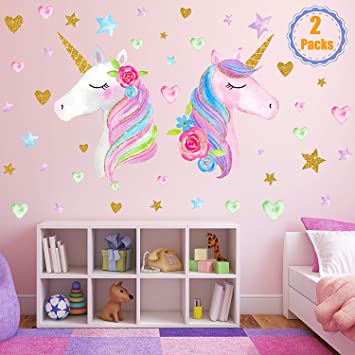 Golden Pink Heart Wall Sticker for Girls Bedroom Home Decor 4 PCS Unicorn Wall Decal Unicorn Baby Kids Room Nursery Party Decoration Wall Stickers