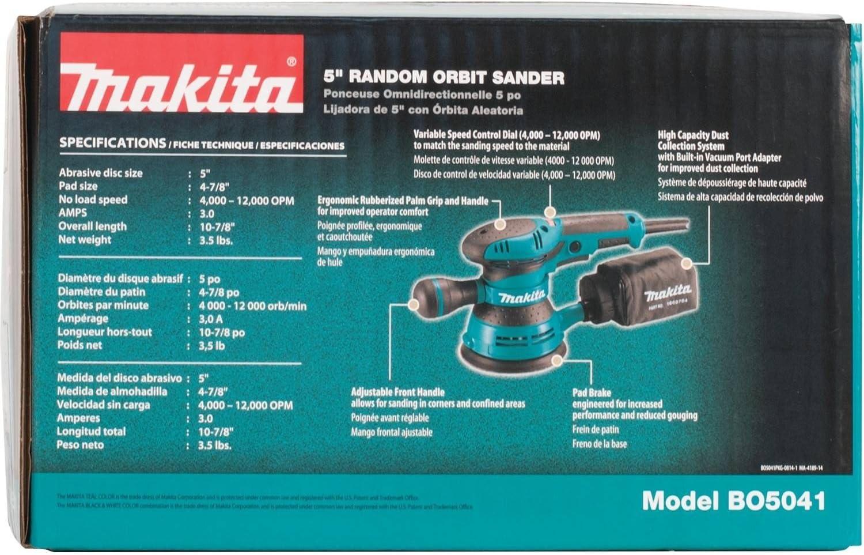 Makita BO5041 3-Amp 4000-12000 OPM D-Handle Random Orbit Sander, 5-Inch - -