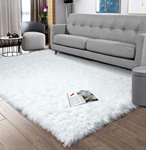 Noahas Luxury Fluffy Rugs Bedroom Furry Carpet Bedside Faux Fur Sheepskin Area Rugs Children Play Princess Room Decor Rug, 5ft x 8ft White