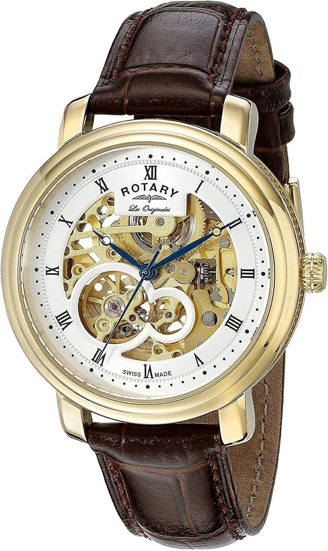 Rotary GS90506/06 - Reloj analógico automático para Hombre, Correa de Cuero Color marrón