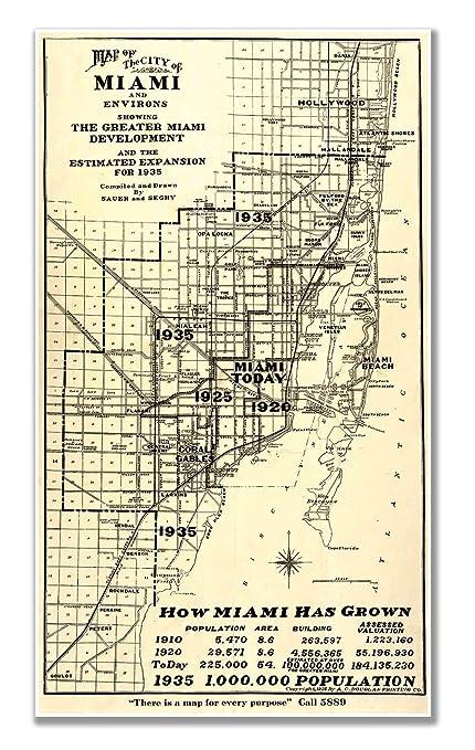 Map Miami Florida.Amazon Com Antiguos Maps Miami Florida City Map Circa 1935