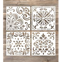 GSS Designs Pack of 4 Stencils Set (6x6 Inch) Laser Cut Painting Stencil Floor Wall Tile Fabric Wood Stencils -Reusable…
