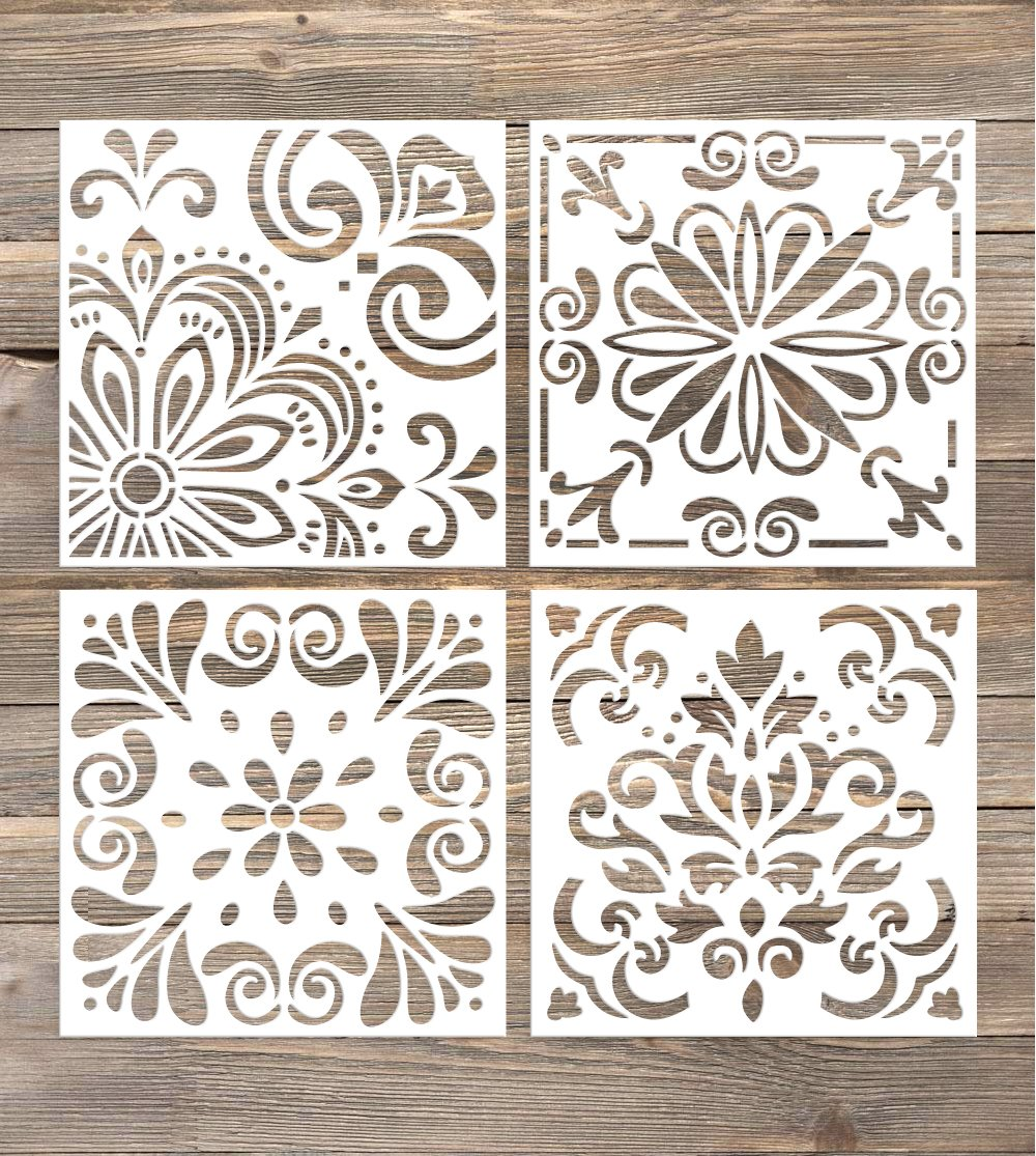 GSS Designs Pack of 4 Stencils Set (6x6 Inch) Laser Cut Painting Stencil Floor Wall Tile Fabric Wood Stencils -Reusable Template (SL-006) by G GSS Designs