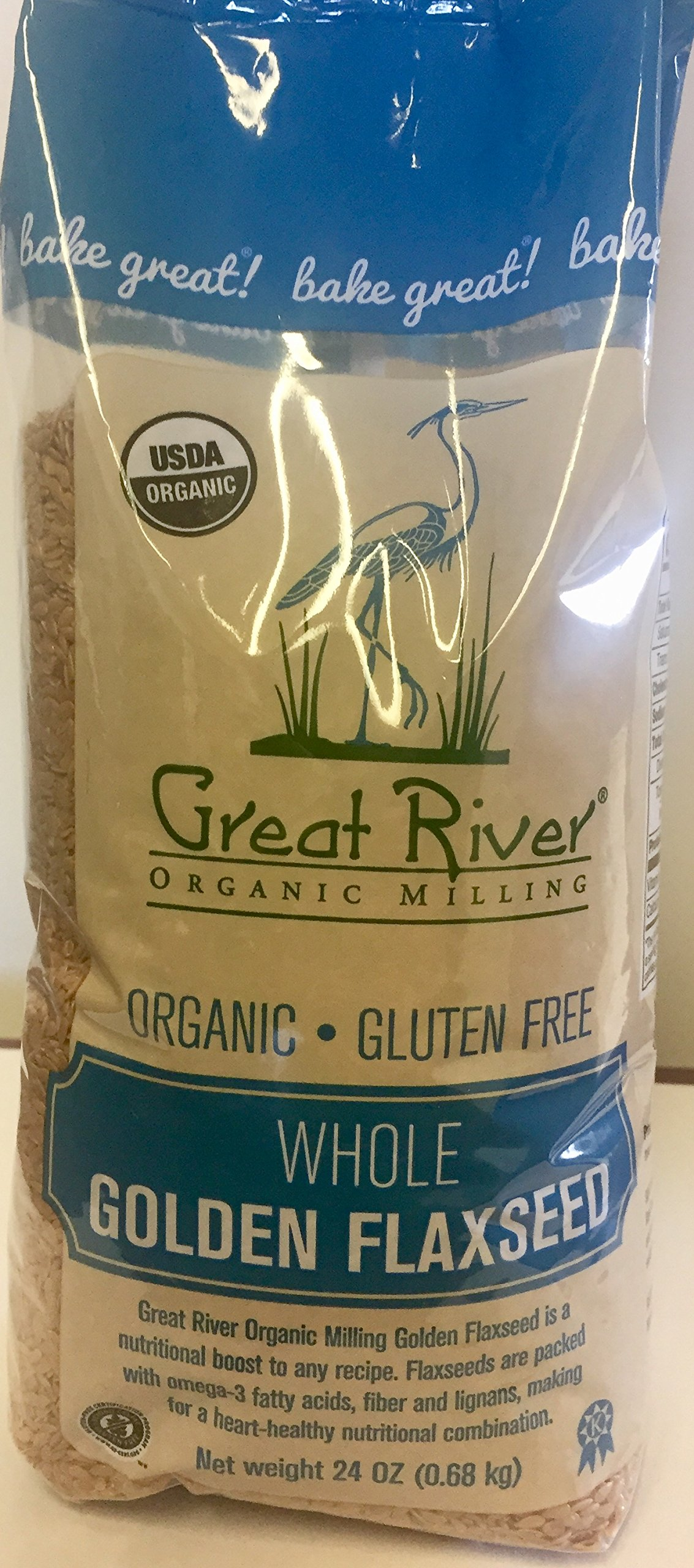 Great River Organic Milling Organic Raw Whole Golden Flaxseed, 24 Ounce (Pack of 4)