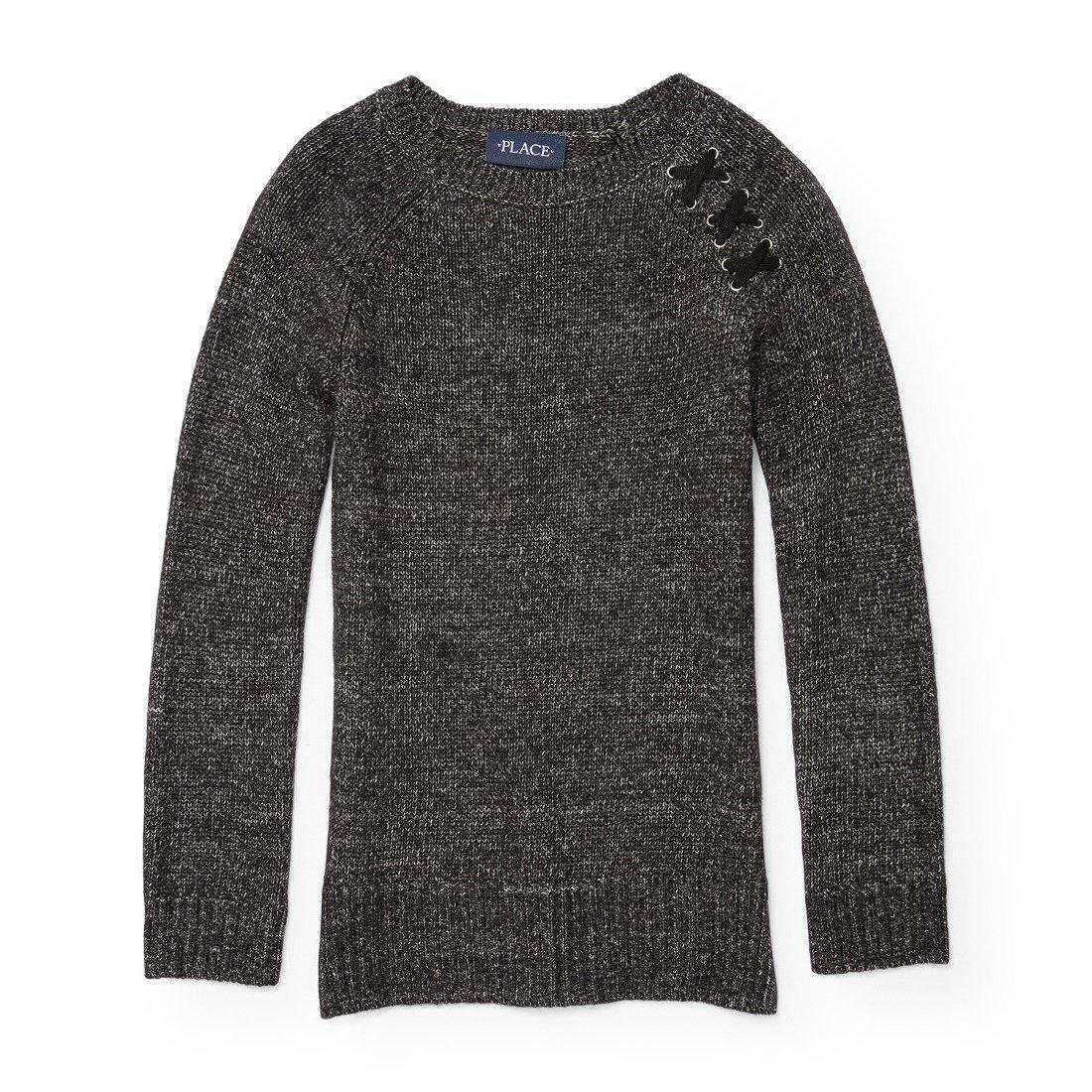 The Children's Place Big Girls' Sweater, Black 88077, XS (4)