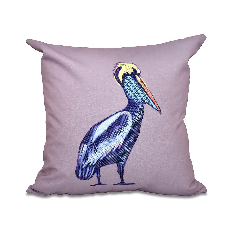 E by design PAN463PU14-26 26 x 26 inch Animal Print Pillow 26x26 Purple Sea Music