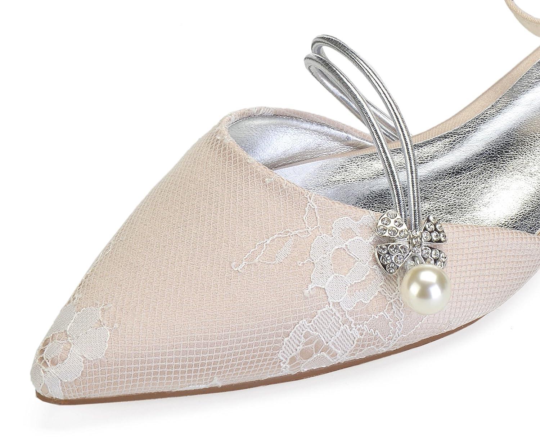 MarHermoso Satin Damen Brautschuhe Satin MarHermoso Geschlossene Perlen Hochzeit Spitzenschuhe 50f85e
