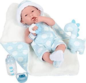 """JC Toys La Newborn All-Vinyl-Anatomically Correct Real Boy 15"""" Baby Doll in Blue and Deluxe Accessories, Designed by Berenguer., Blue - Dots, Model:18064"""