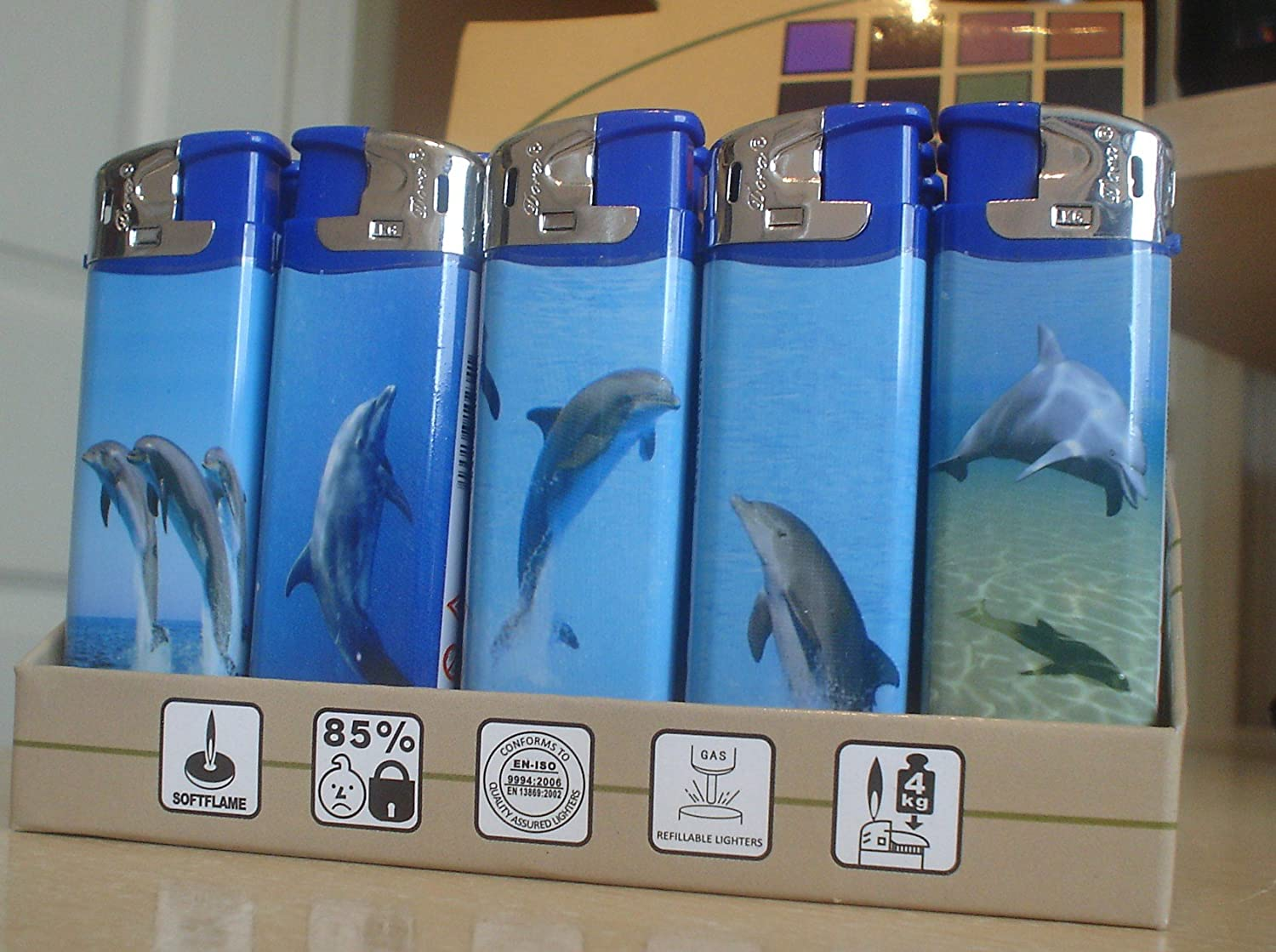 Dolphins 5 x  Electronic Refillable Gas  Lighters by Dora