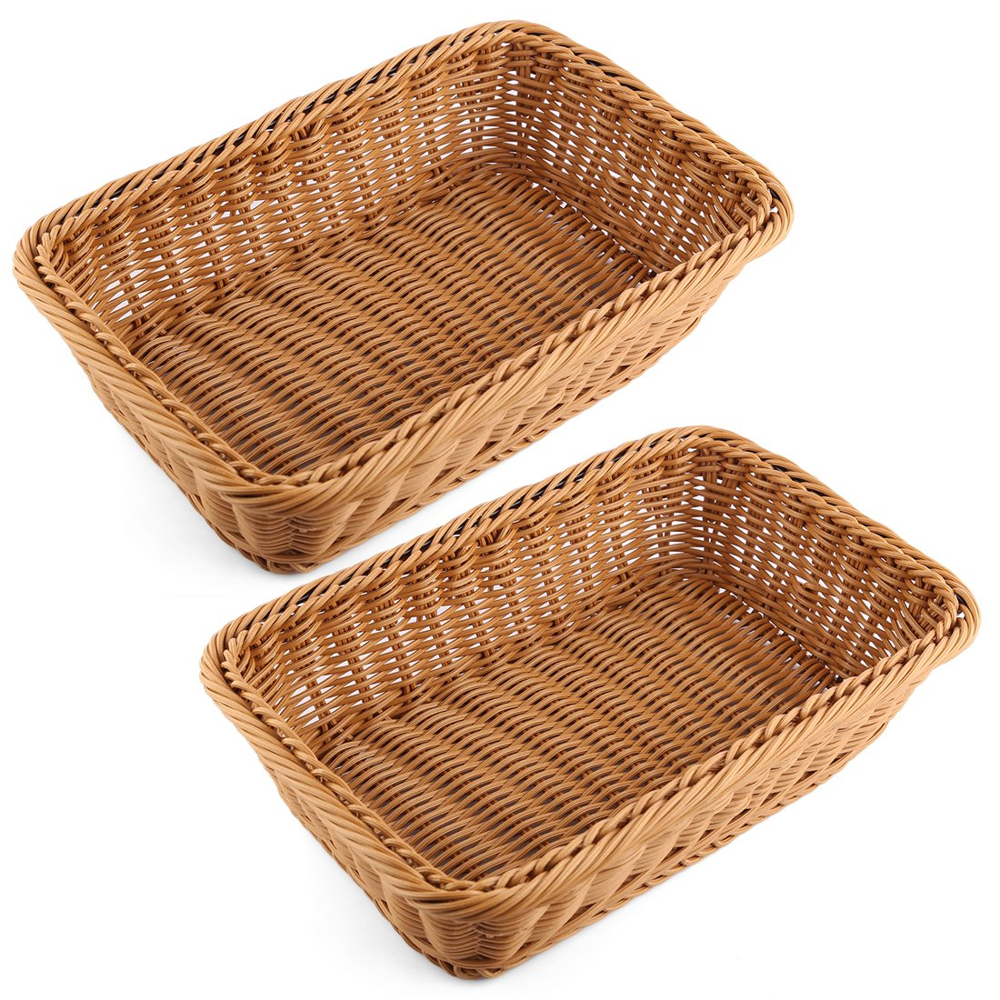 PeleusTech Bread Basket, 2PCS Rectangle Imitation Rattan Woven Storage Basket For Fruit Food Vegetables Large Poly Wicker Bread Basket -