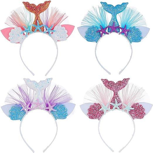 supplies Birthday Party Mermaid Tail Headband Hair Hoop Starfish Hairband Lace