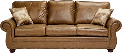 Sunrise Coast Amadora Faux-Leather Sofa, Burnt Caramel