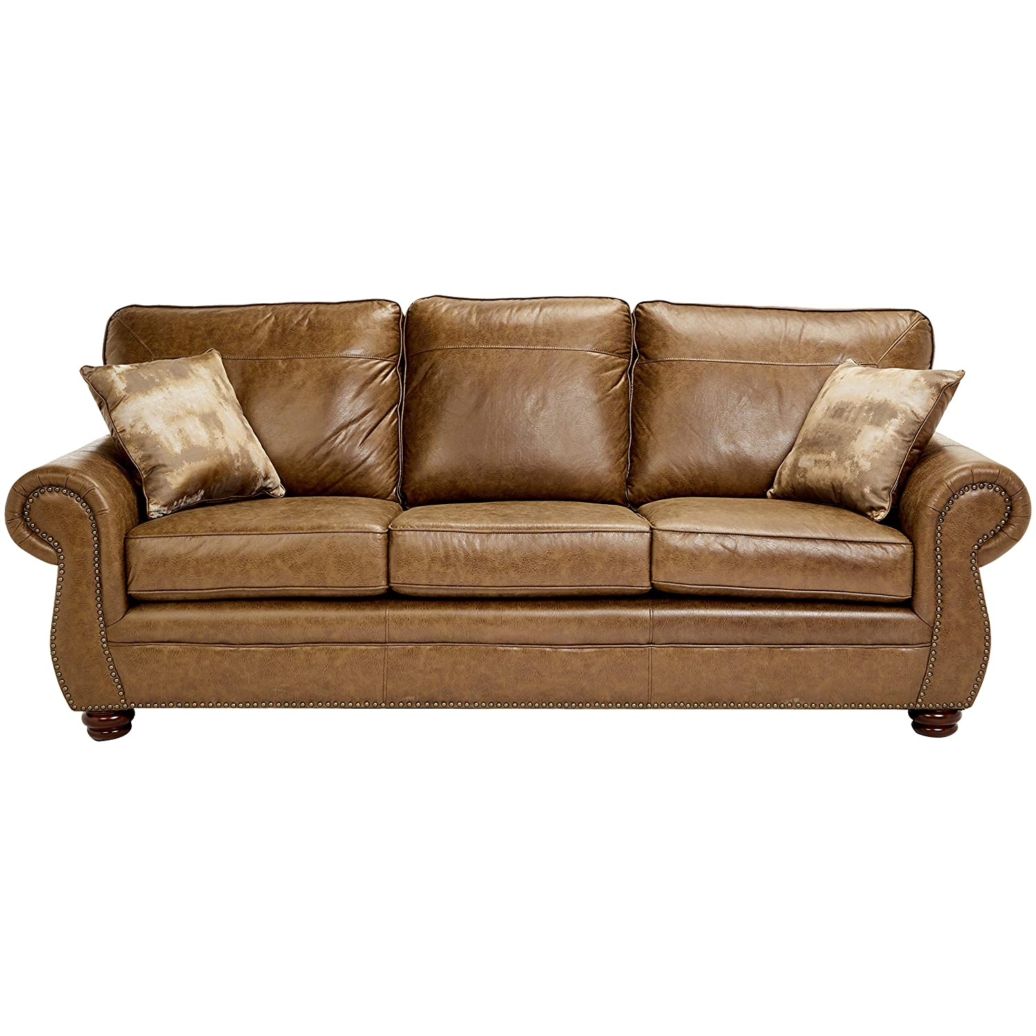 Magnificent Sunrise Coast Amadora Faux Leather Sofa Burnt Caramel Short Links Chair Design For Home Short Linksinfo
