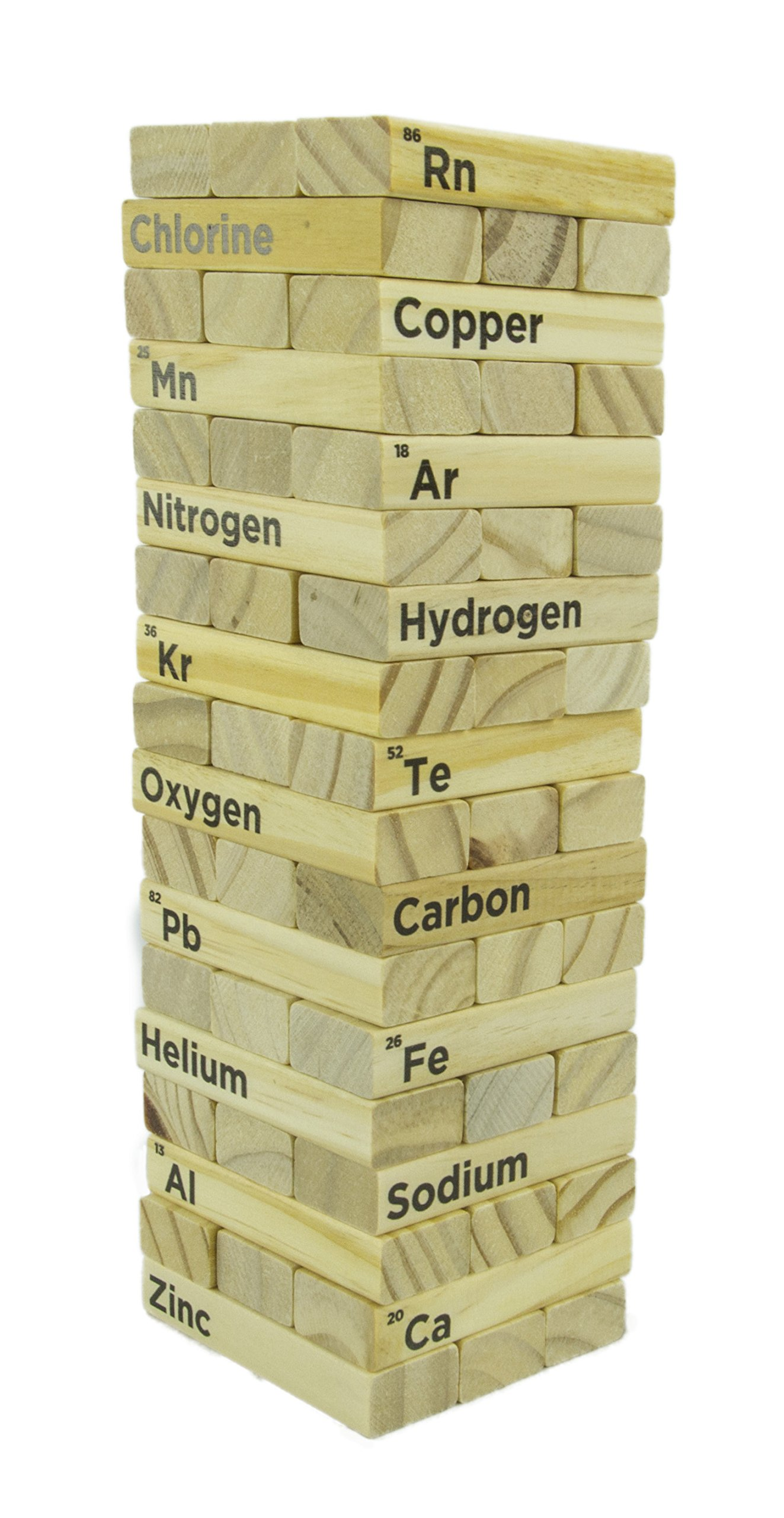 Periodic Table Wood Block Tower Stacking Game | Classic Game for Kids & Adults | Making Chemistry Fun to Learn | 54 Pieces
