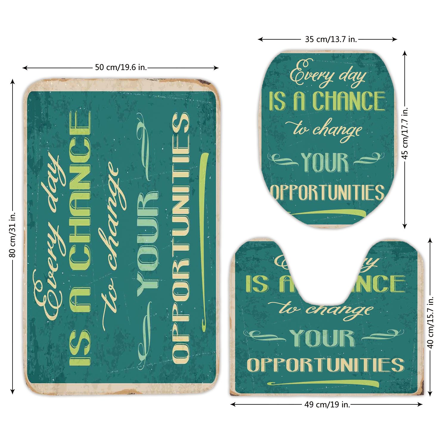 3 Piece Bathroom Mat Set,Lifestyle,Every Day is a Chance to Change Your Opportunities Quote Retro Poster Print,Jade Green Tan,Bath Mat,Bathroom Carpet Rug,Non-Slip by iPrint