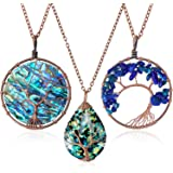Hicarer 3 Pieces Tree Life Pendant Tree Life Quartz Crystal Pendant Necklace Chakra Gemstone Copper Wire Wrap Necklace