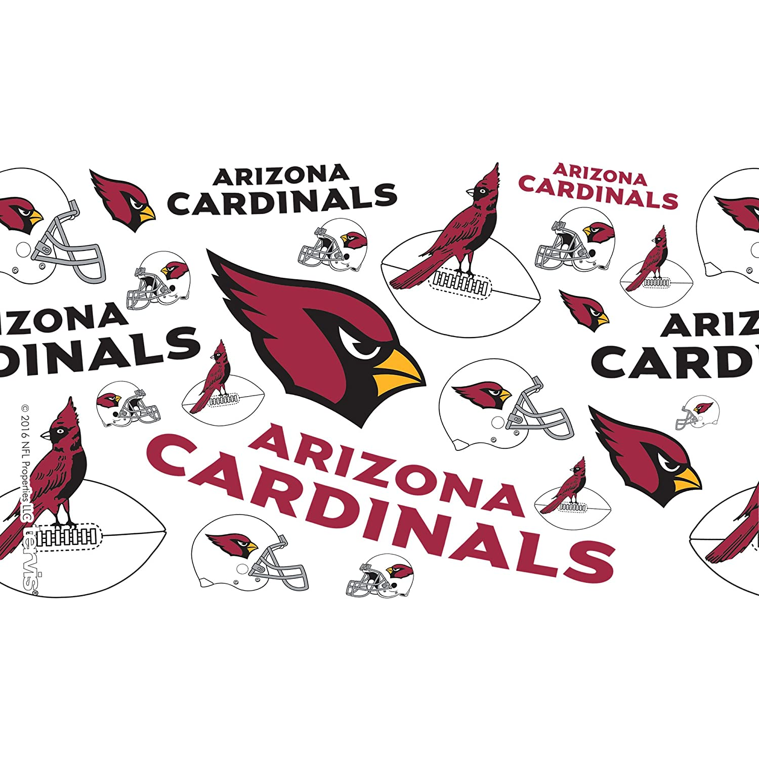Tervis 1247917 NFL Arizona Cardinals All Over Tumbler with Wrap and Red Lid 10oz Wavy Clear