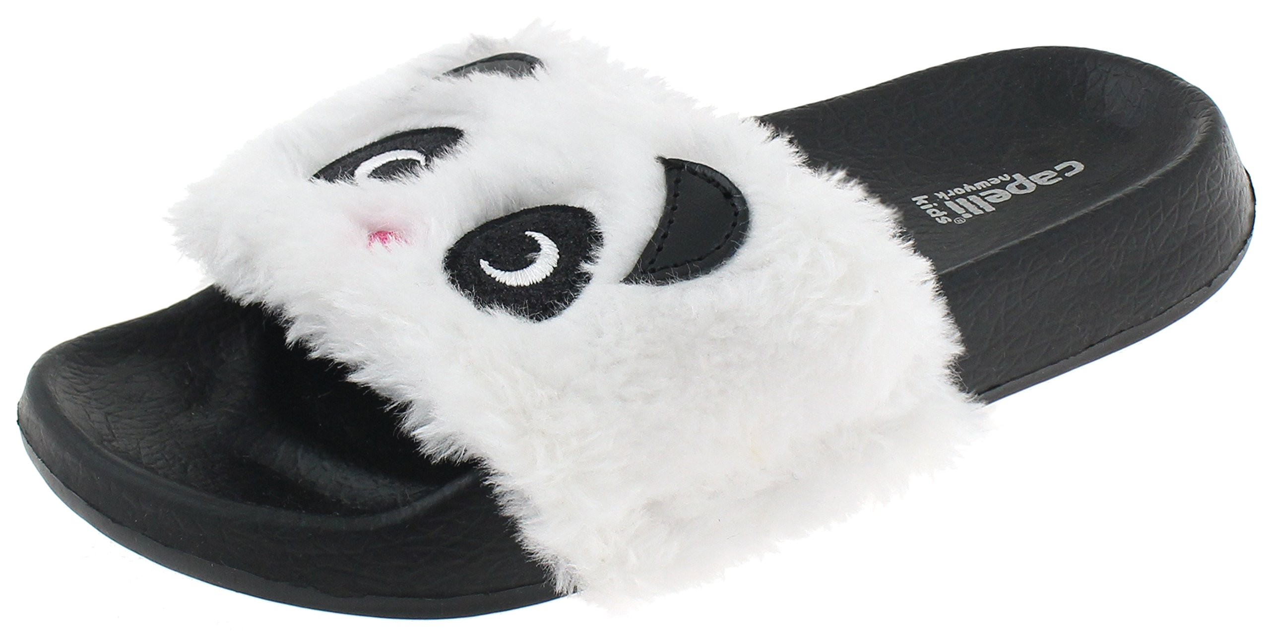 Capelli New York Girls Faux Fur Panda Fashion Slide Black Combo 10/11