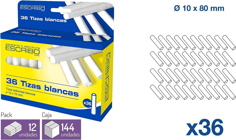 Caja de 36 Tizas Blancas no toxicas Redondas - Blanco diametro 10 mm. x 75 mm.Ideal para portatizas. - Pack de 3: Amazon.es: Oficina y papelería