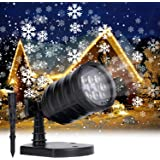Snowfall Christmas Lights Projector Outdoor: Minetom LED Waterproof Rotating Snowflake Landscape Lighting for Halloween…