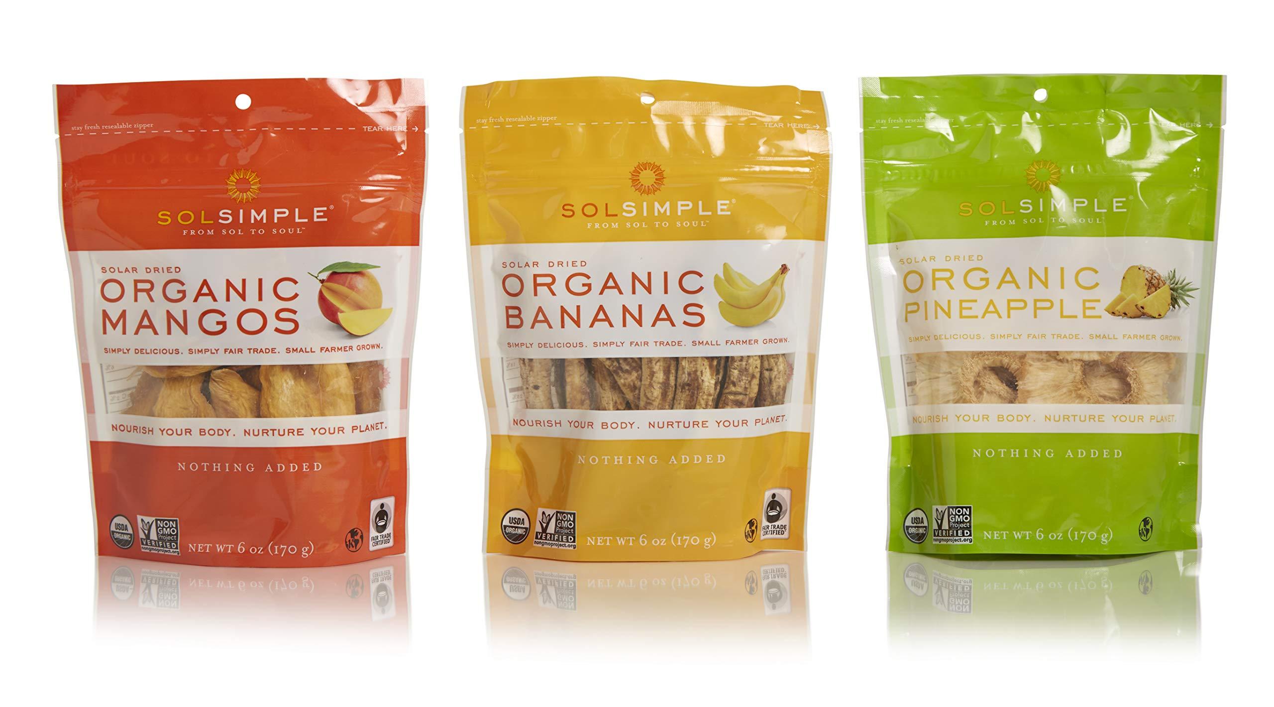 Sol Simple Organic Variety Pack - Mangos, Bananas, Pineapple 6oz, Pack of 3