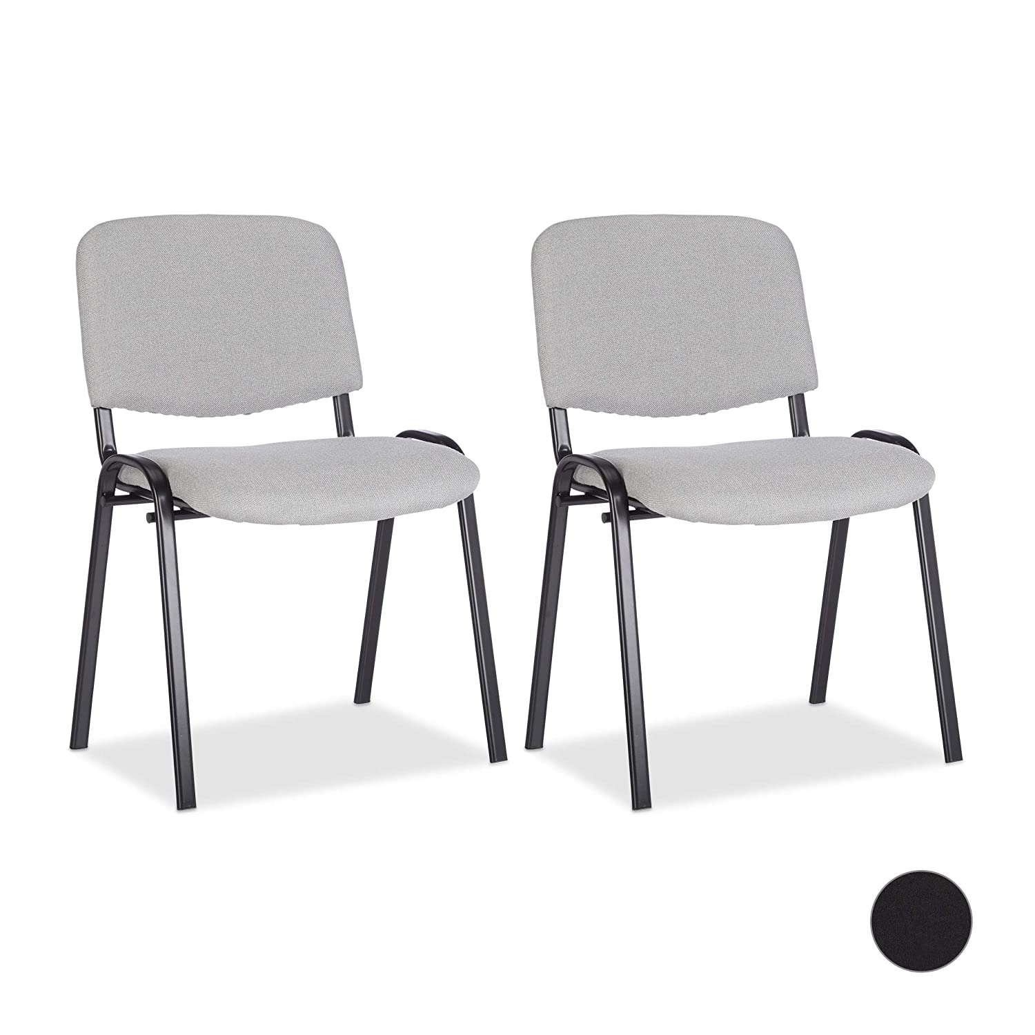 Amazon.com: Relaxdays Reception Chair Set of 2, Stackable, Padded ...