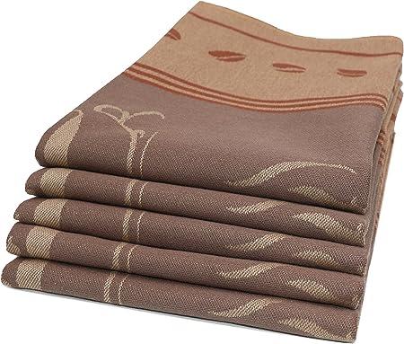 ZOLLNER Set de 5 paños de Cocina de algodón, 50x70 cm, marrón: Amazon.es: Hogar