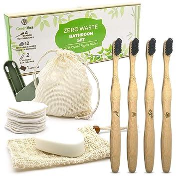 Greenvea - Kit Zero Waste - Cepillos de dientes de madera de bambu ...